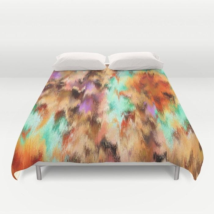 Abstract Duvet Cover, Full Queen King Duvet, Abstract Art Decor, Brown Bed Cover, Mint Duvet Cover, Boho Bedding, Purple Comforter Cover by OlaHolaHolaBaby on Etsy