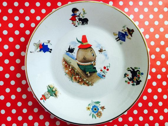 Vintage Arklow Humpty Dumpty Child's Dish by SunKitschedVintage