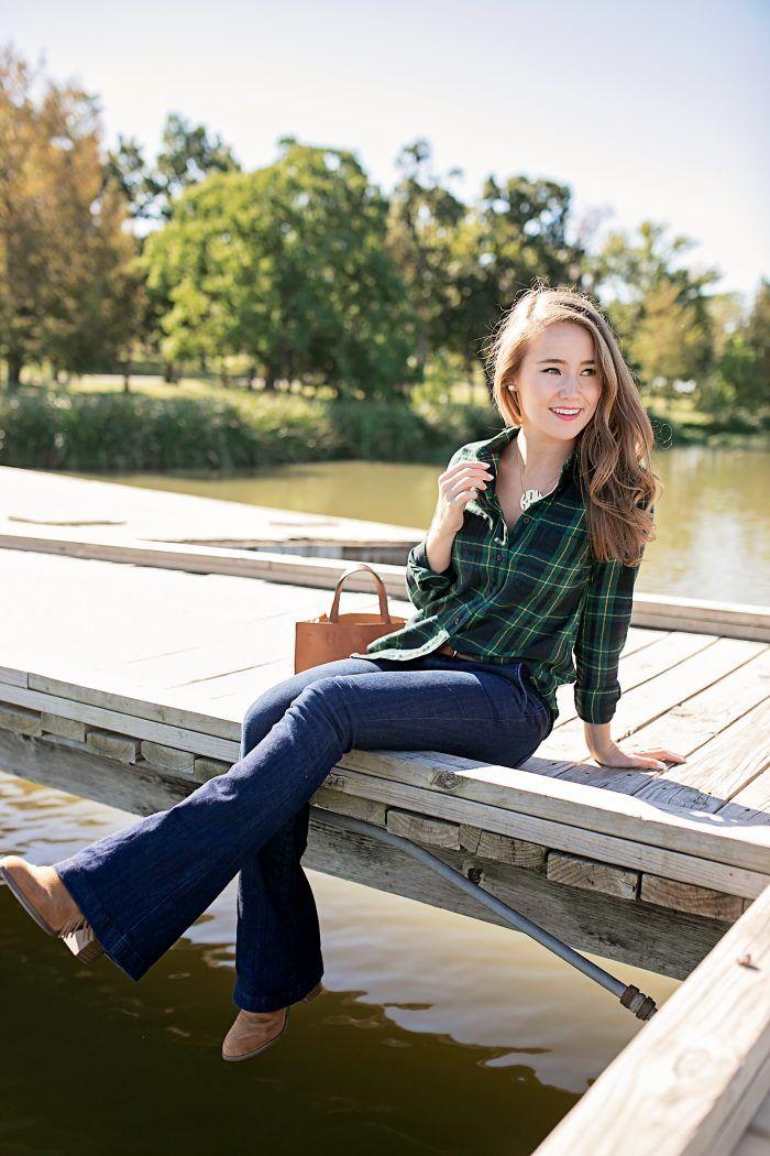 navy & green flannel