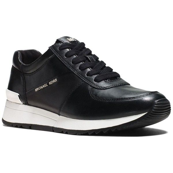 Michael Michael Kors Allie Lace Up Sneakers (2,660 MXN) ❤ liked on Polyvore featuring shoes, sneakers, black, lace up sneakers, black sneakers, lace up shoes, black leather trainers and leather trainers