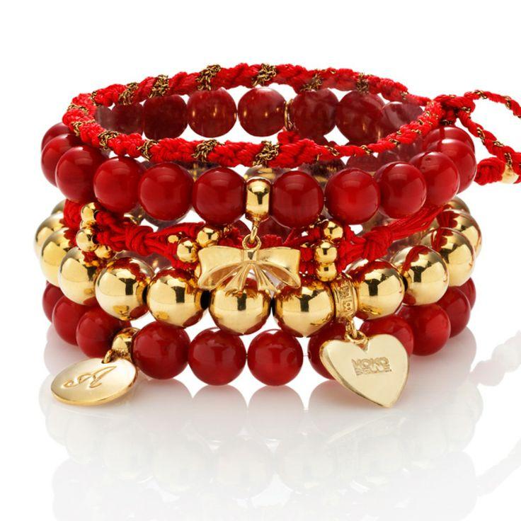 Zestaw: Karminowa rozkosz #mokobelle #jewelry #jewelryaddict #fashion #bracelet #set #look #gold #red #love #walentynki #valentinesday