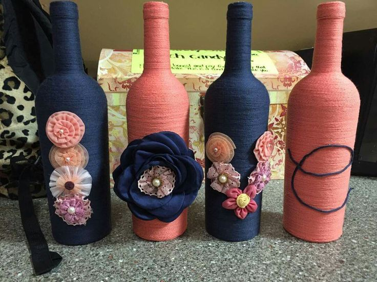 Yarn wrapped wine bottles!