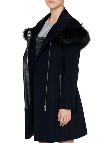 Luxe Faux Fur Trimmed Belted Coat | Hudson's Bay