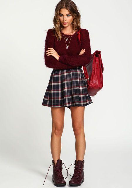 Zip Up Plaid School Girl SkirtZip Up Plaid School Girl Skirt, BURGUNDY
