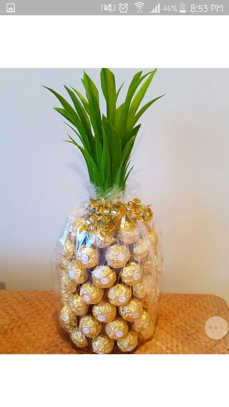 Original Pin- K8iekates. Wine Pinapple Champagne Ferreo Rocher gift. Made this gift for a friend's parents. Nice bottle of champagne underneath around 65 Ferrero Rochers. Bought plastic plant from the dollar store and cut up the leaves smaller and layered on neck of bottle with double sided tape (as I couldn't find my glue gun). Ferrero Rochers stuck to the bottle also with double sided tape. Finished off with cellophane and curled ribbon. Lovely!