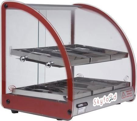 """FWD2-18R 18"""" Food Warmer Display Case with Double Shelf in Red"""