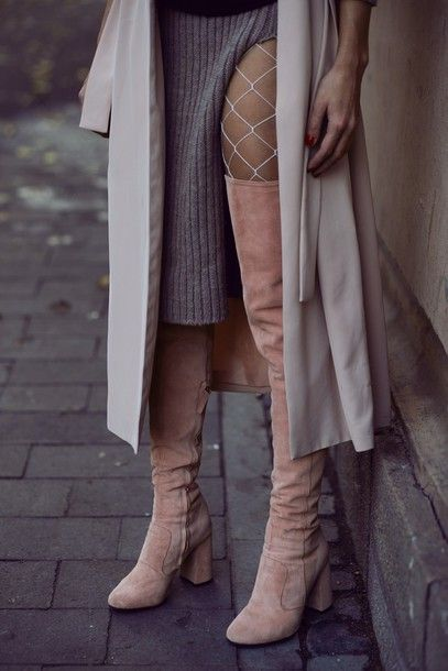 Shoes: tumblr boots over the knee boots over the knee thigh high boots tight net tights fishnet
