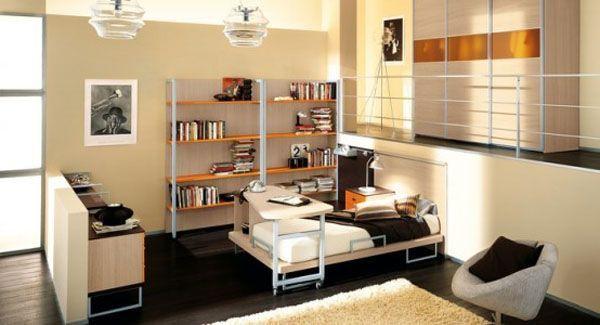Brown bed lamp room young man teen design shelf curtain window idea Chair yellow