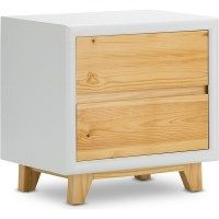 Arielle 2 Drawer Wood Bedside Table White & Natural