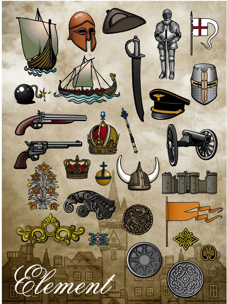 Introducing Your New Design Elements - Our history design elements span not only centuries, but also the countries of the world, representing everything from Viking invasions and Medieval Europe to Native Americans and Colonial warfare. You are sure to find something amongst these bold designs, illustrated in a cartoonish yet elegant style, to compliment any history report or project. #Glogster #Elements