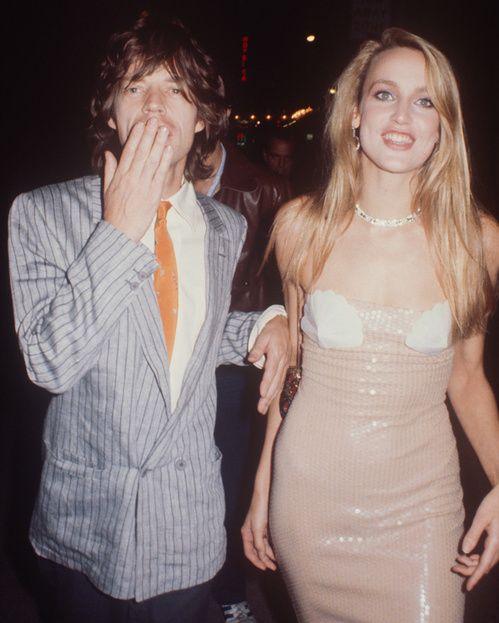 Jerry Hall et Mick Jagger en janvier 1980