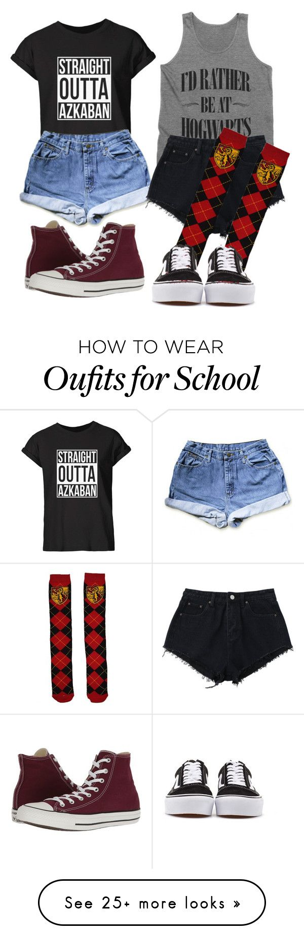 """Harry Potter"" by sammi-mo on Polyvore featuring Converse and Vans"