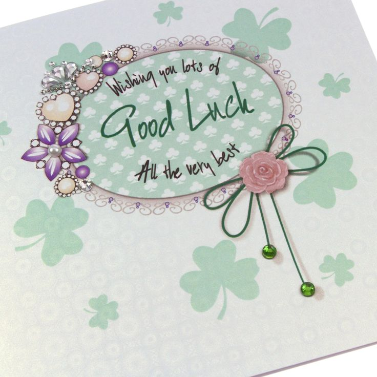 Handmade Regal Royal Vintage Heirloom Good Luck Card Ice Gold Shimmer Boardstock Embellishments Sparkling Green Crystals Gems - 'Wishing you lots of Good Luck'