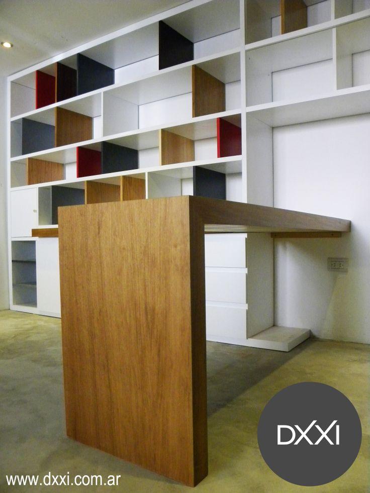 Biblioteca escritorio modelo bricolage mdf laqueado y for Muebles de mdf