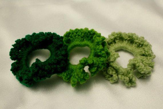 Green crocheted scrunchie Saint Patrick Easter by AtelierGarofita