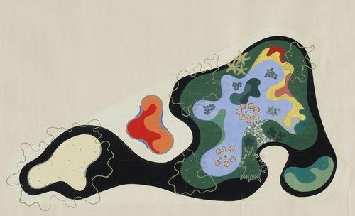 "Roberto Burle Marx. Garden Design Saenz Peña Square, Rio de Janeiro, Brazil, Plan, 1948. Gouache on paper, 24 3/8 x 40"" (61.9 x 101.6 cm). The Museum of Modern Art, New York. Gift of Philip L. Goodwin"