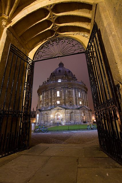 The Radcliffe Camera from the Entrance to the Bodleian Library, Oxford, England. Favorite library.