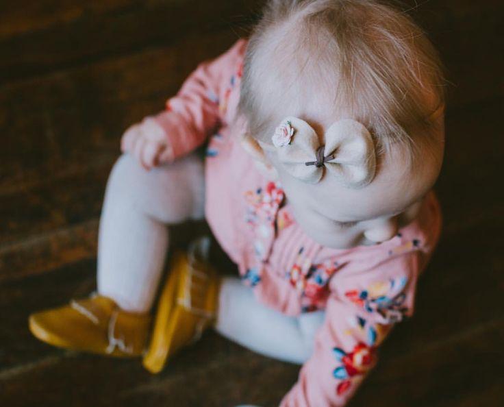Felt bow, felt flower bow, boho baby, floral nursery, baby moccasins, Cloth Crowns, suede baby bow