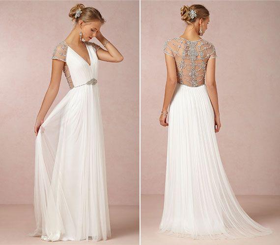 Különleges esküvői ruhák fémes rátéttel.