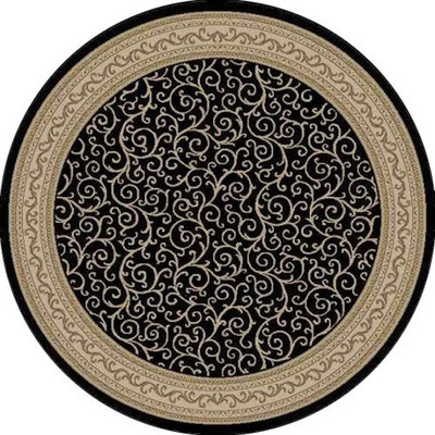 Find black border vines persian 5x5 round area rug for Where to buy round rugs