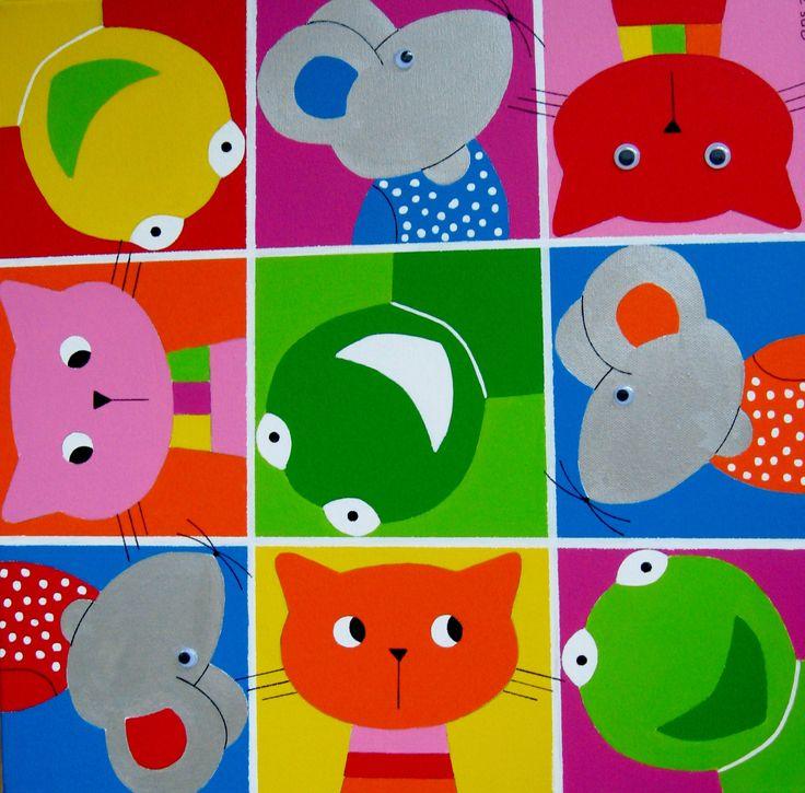 BEESTENBOEL Schilderij met verschillende dieren in allerlei kleuren.