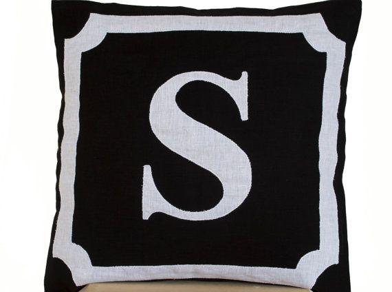 Personalized Monogram throw pillow- Linen pillows- Black White monogram cushion - Initial pillow - Decorative throw pillows- 16x16 pillow