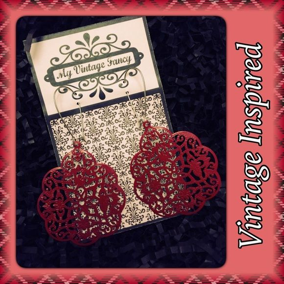 NEW!Vintage Inspired Earrings New in package vintage inspired earrings! Handmade by myvintagefancy.etsy.com. The red lace is made of a very thin metal material. Smoke free home! Boutique Jewelry Earrings