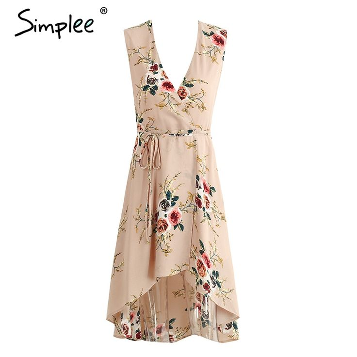Aliexpress.com : Buy Simplee Deep v neck floral print sexy dress Vintage irregular sleeveless beach summer dress Causal bow women dress vestidos from Reliable dress vestidos suppliers on Simplee Apparel