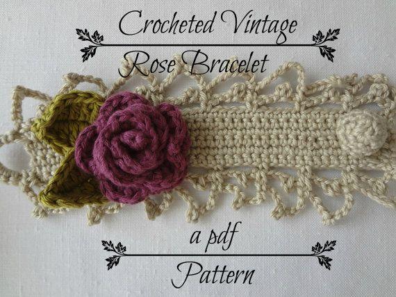Crocheted Vintage Rose Bracelet PDF Pattern  photo por sewella