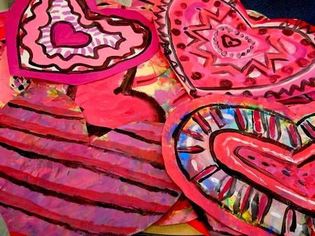 Picasso's rose period hearts art project for Valentine's Day