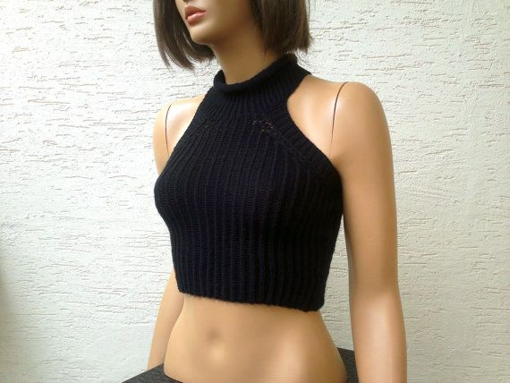 Knitted womens cropped sweater racer back crop top sexy top