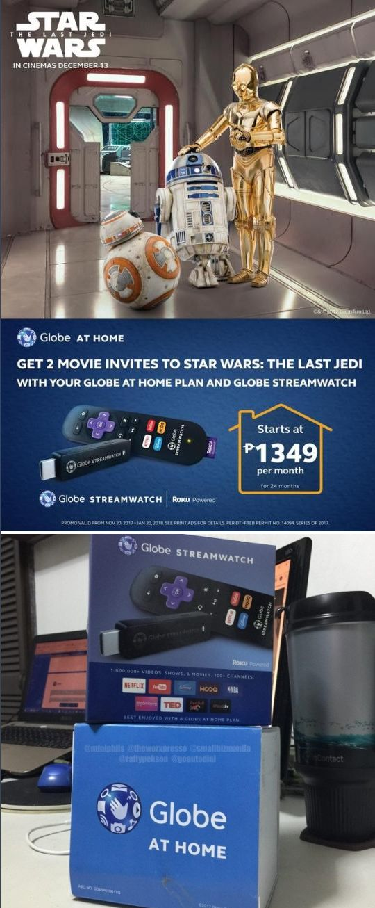 Do you want two (2) FREE tickets to the upcoming @starwars: The Last Jedi? Beginning November 30, all new Globe at Home subscribers who also purchase a Globe Streamwatch Roku powered device will automatically receive two Star Wars: The Last Jedi movie tickets through GMovies. How awesome is that?