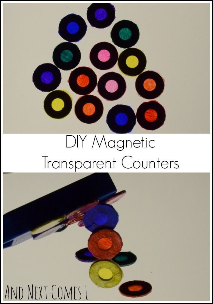 Simple and inexpensive DIY magnetic transparent counters for light play from And Next Comes L