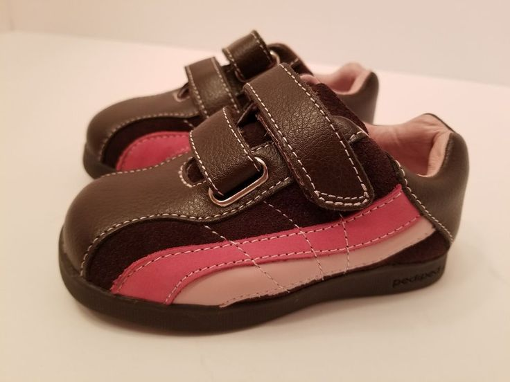 Pediped Brown Pink Striped Baby Tennis Shoes size 23 girl US size 7
