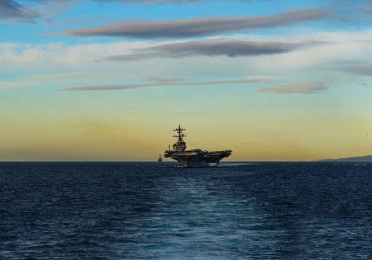 US Navy aircraft carrier USS George H.W. Bush (CVN 77) transits the Strait of Gibraltar.