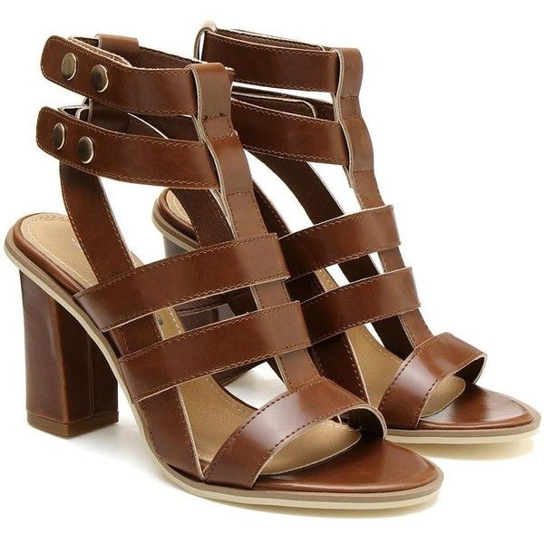 Yoins Gladiator Heeled Sandals In Brown ($50) ❤ liked on Polyvore featuring shoes, sandals, heels, sapatos, yoins, brown, brown shoes, velcro shoes, heeled sandals and gladiator heel shoes