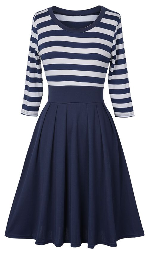 $24.99 Only with free shipping&easy return! This striped splicing dress with great stretch is featured by side zipper closure&3/4 sleeve! Start your holiday with Cupshe.com