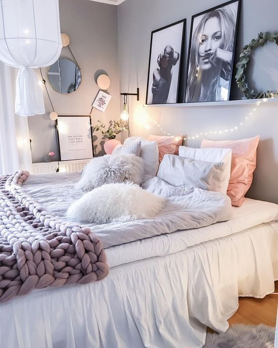 Love the shelf with large photos above bed