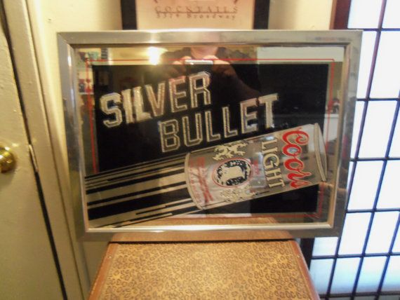 Vintage 1983 Silver Bullet Coors Light Beer Mirror Sign