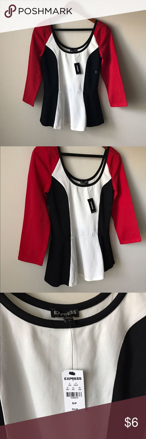 Express black white and red peplum top Black white and red colorblock peplum top - new with tags!! - size S Express Tops
