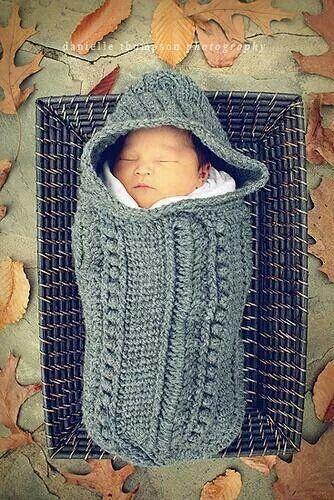 Grey crochet swaddler                                                                                                                                                                                 More