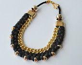 Темно-серый заявление ожерелье - ожерелье веревки - плетеные ожерелья
