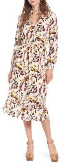Women's Love, Fire Gigi Floral Surplice Midi Dress / floral dress for fall / fall dresses / cream floral dress / #affiliatelink