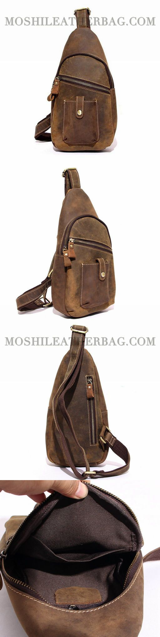Handcrafted Vintage Top Grain Leather Travel Hiking Single Strap Shoulder Crossbody Backpack Chest Bags Sling Bag 8886
