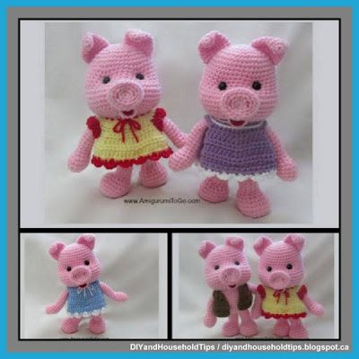 DIY And Household Tips: Crochet Piggies And Clothes (FREE PATTERNS)