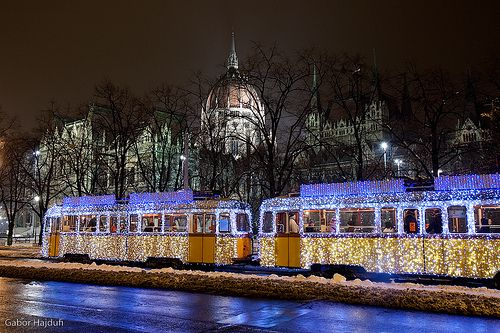 The Christmas Tram in Budapest, Hungary