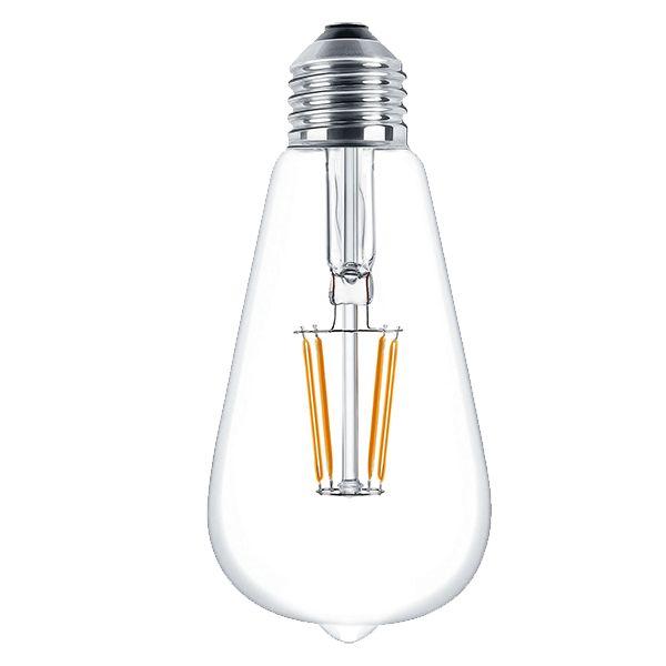 żarówka dekorayjna st64  Ledowa żarówka dekoracyjna o mocy 6W, daje światło porównywalne do 40 W-owej tradycyjnej żarówki. Ten model, dzięki dekoracyjnym pomarańczowym żarnikom świeci barwą cieplejszą nawet niż jej Edisonowy odpowiednik ST64. Przeznaczona jest do stosowania wewnętrznego, zwłaszcza do lamp z otwartymi lub przezroczystymi kloszami.