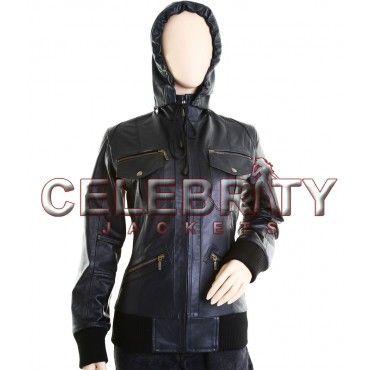 Kerri Russel Hooded Bomber Fashionable Genuine Cowhide Black Leather -  £109.99