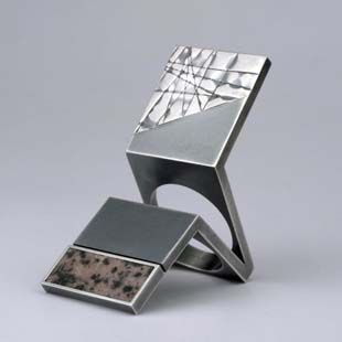 Helfried Kodré  Silver and Rhodolite  (again, more essence-of-box than box. Box, deconstructed.)