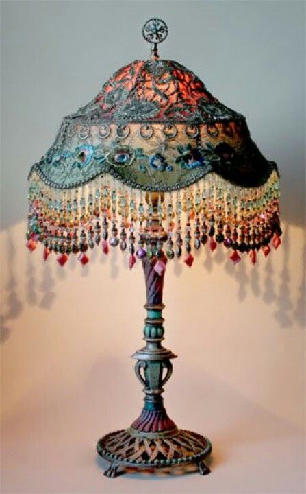 antique metal base with Balinese shade